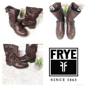 Frye | Leather Brown Moto Biker Boots | Sz 9